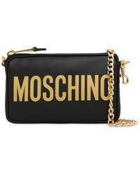 Moschino Schultertasche Aus Leder Mit Logodruck - Schwarz