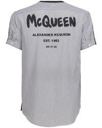 Alexander McQueen Хлопковая Футболка Graffiti - Черный