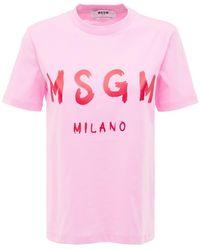 MSGM T-shirt Aus Baumwolljersey Mit Logodruck - Pink