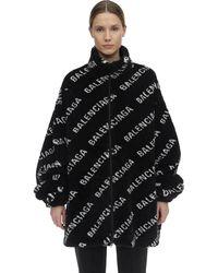 Balenciaga Logo Printed Zip-up Faux Fur Jacket - Black