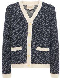 Gucci Cardigan Aus Baumwolle Und Seide - Blau