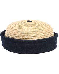 Beton Cire Handmade Straw & Cotton Denim Sailor Hat - Natural