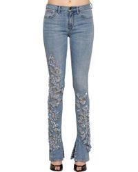Roberto Cavalli - Embellished Flared Stretch Denim Jeans - Lyst
