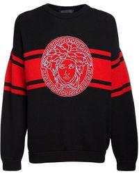 Versace Suéter De Punto De Lana Con Logo - Rojo