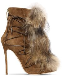 DSquared² 120mm Riri Suede Lace-up Boots W/ Fur - Natural