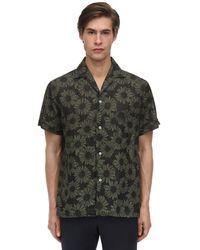 Lardini Floral Print Linen Bowling Shirt - Green
