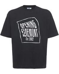 Opening Ceremony Camiseta De Jersey De Algodón Con Logo - Negro