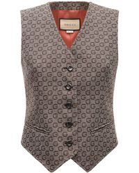 Gucci All Over Logo Jacquard Wool Vest - Multicolor