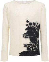 Saint Laurent Sweater Aus Tropischem Leinenmischstrick - Weiß