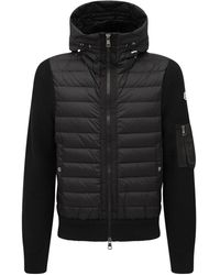 Moncler Куртка На Пуху Из Шерстяного Трикотажа - Черный