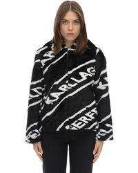 Karl Lagerfeld Faux-Fur-Jacke mit Logos - Schwarz