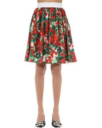 Dolce & Gabbana Geranium-print Cotton-poplin Skirt - Red