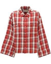 R13 Check Flannel Crop Shirt - Red