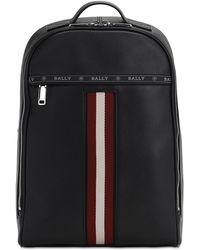 Bally - Leather Backpack W/ Web Stripe - Lyst