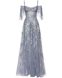 Zuhair Murad Sequined Maxi Dress - Blue