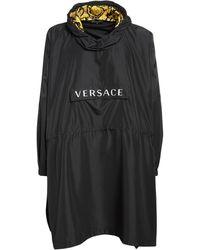 Versace Logo Print Nylon Poncho W/ Hood - Black