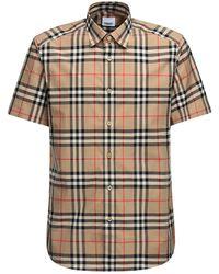 Burberry Kurzärmeliges Hemd aus Baumwollpopelin mit Karomuster - Braun