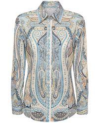 Etro ストレッチコットンシャツ - ブルー