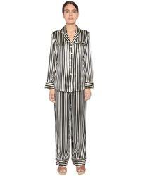 Olivia Von Halle - Striped Print Silk Satin Pajama Set - Lyst bb5ca4123