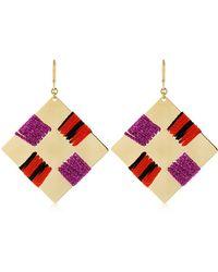 Missoni - Waving Metal & Knit Square Earrings - Lyst
