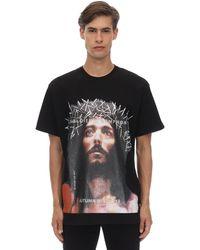 ih nom uh nit Jesus Printed Cotton Jersey T-shirt - Black