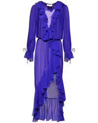 Saint Laurent Прозрачное Платье Из Шёлкового Шифона - Синий