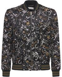 Saint Laurent Атласная Куртка-бомбер С Вышивкой - Черный