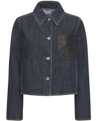 Ferragamo Blazer Aus Baumwolldenim Mit Ledertasche - Blau