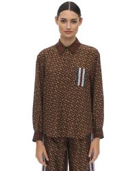 Burberry Tb All Over Printed Mulberry Silk Shirt - Коричневый