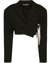 Jacquemus ウールブレンドクロップドジャケット - ブラック