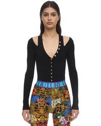 Versace Jeans Couture ビスコースブレンドリブニットトップ - ブラック