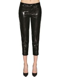 DSquared² Cropped Trousers W/ Sequins - Black