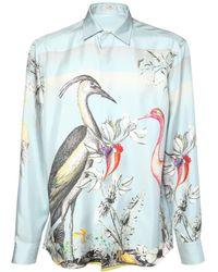 Etro Шёлковая Рубашка С Принтом - Синий