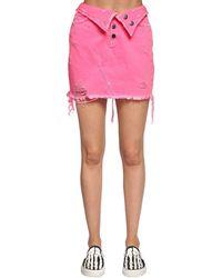 Amiri Fold Over Destroyed Cotton Denim Skirt - Pink
