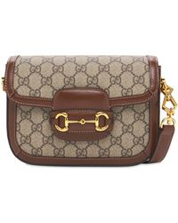 Gucci 1955 Horsebit Gg Canvas Shoulder Bag - Brown