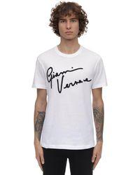 Versace Футболка Из Хлопкового Джерси С Вышивкой - Белый