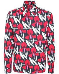 Prada Baumwollhemd Mit Geometrischem Blumendruck - Rot