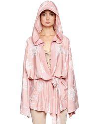 PUMA Kimono In Raso Jacquard Con Cappuccio - Rosa