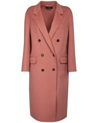 Weekend by Maxmara Double Wool Double Breasted Coat - Pink
