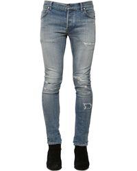 Balmain Jean En Denim De Coton Ciré Coupe Slim 15 Cm - Bleu