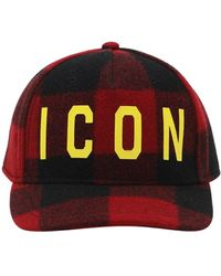 "DSquared² Baseballkappe Aus Wolle ""icon"" - Rot"