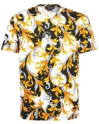 Versace T-shirt Aus Stretch-baumwolle Mit Baroque-druck - Mehrfarbig