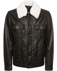 Dolce & Gabbana シアリングカラー レザージャケット - ブラック