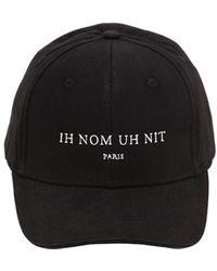 ih nom uh nit Embroidered Cotton Canvas Baseball Hat - Black