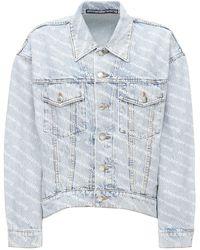 Alexander Wang Куртка Из Деним С Логотипами - Синий