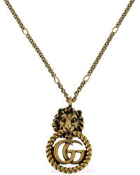Gucci Small Lion Vintage Gg Running Necklace - Metallic