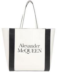 Alexander McQueen Tote Aus Leder Mit Signatur-logo - Weiß