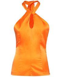 Matériel Silk Satin Halter Neck Top - Orange
