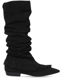 JW Anderson 10mm Ruffle Suede Boots - Black