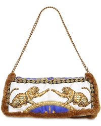 Versace - Printed Silk Pillow Bag W/ Fringe - Lyst